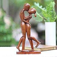 Wood sculpture, 'Lover's Kiss'