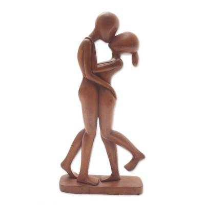 Wood sculpture, 'Lover's Kiss' - Hand-Carved Romantic Suar Wood Sculpture from Bali