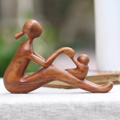 Wood sculpture, 'Mom and Infant' - Natural Suar Wood Mother and Child Sculpture from Bali