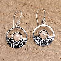 Gold accented sterling silver dangle earrings, 'Zenith'