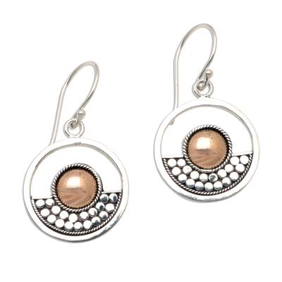 Gold accented sterling silver dangle earrings, 'Zenith' - Modern Sterling Silver and 18k Gold Plate Dangle Earrings