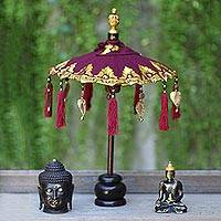Cotton and wood Balinese umbrella, 'Pura Entrance in Maroon' - Maroon Cotton and Wood Mini Ceremonial Balinese Umbrella