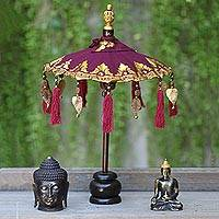 Cotton and wood Balinese umbrella, 'Pura Entrance in Purple' - Purple and Gold Mini Ceremonial Balinese Umbrella