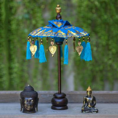 Cotton and wood Balinese umbrella, Sacred Moment in Azure
