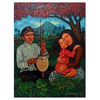 'Happy Life' - Colorful Painting of a Family at Peace with Nature