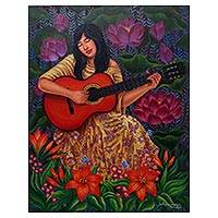'Song of My Guitar' - Portrait of a Woman with a Guitar Painting from Java