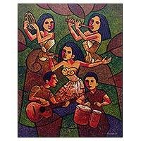 'Melayu Music' - Expressionist Painting of Maya Musicians in Bright Colors