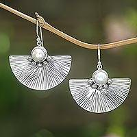 Cultured pearl dangle earrings, 'Celuk Fan' - Cultured White Pearl and Sterling Silver Earrings