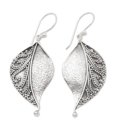Sterling silver dangle earrings, 'Complex Nature' - Sterling Silver Stylized Leaf Dangle Earrings