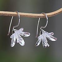 Sterling silver drop earrings, 'Early Bloom' - Polished Sterling Silver Flower Drop Earrings