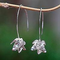 Sterling silver drop earrings, 'Parting Petals' - Sterling Silver Flower Drop Earrings