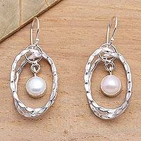 Cultured pearl dangle earrings, 'Undulation' - Cultured Pearl and Sterling Silver Earrings from Bali