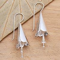 Sterling silver drop earrings, 'Celuk Lily' - Lily-Shaped Sterling Silver Drop Earrings