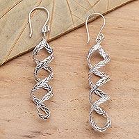 Sterling silver dangle earrings, 'Braided Helix'