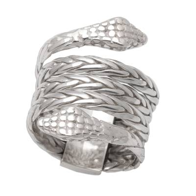 Sterling silver band ring, 'Hydra' - Unisex Two Headed Snake Ring in Sterling Silver