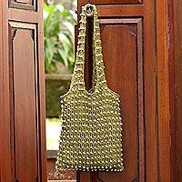 Beaded crocheted cotton shoulder bag, 'Creative Effort in Olive' - Crocheted Olive Green Cotton Shoulder Bag from Bali