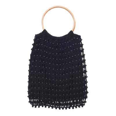 Crocheted Black Beaded Handbag with Bamboo Handles