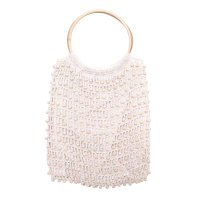 Crocheted White Beaded Handbag with Bamboo Handles