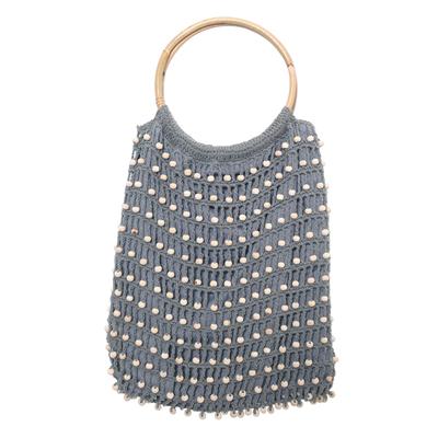 Crocheted Grey Beaded Handbag with Bamboo Handles