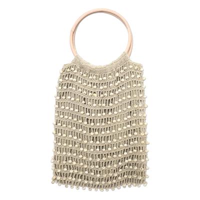 Crocheted Flax Beaded Handbag with Bamboo Handles