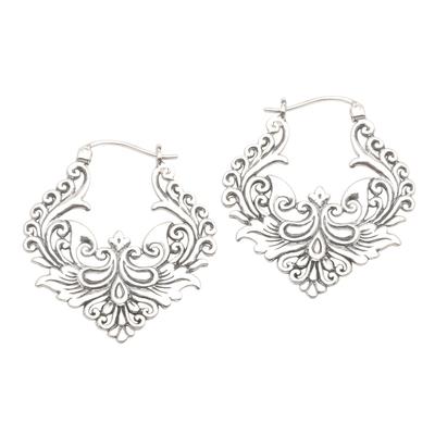 Sterling silver hoop earrings, 'Floral Flame' - Ornate Balinese Sterling Silver Hoop Earrings