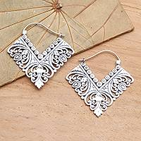 Sterling silver hoop earrings, 'Rhapsody in V' - Ornate Balinese Sterling Silver Squared Hoop Earrings