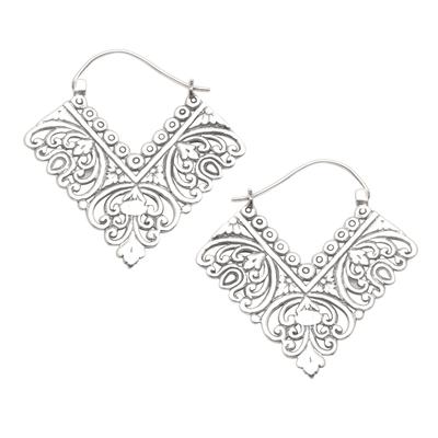 Sterling silver hoop earrings, 'Rhapsody in V' - Ornate Balinese Sterling Silver Squared Hoop Earrings