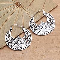 Sterling silver hoop earrings, 'Flame Flower' - Sterling Silver Floral Theme Hoop Earrings  from Bali