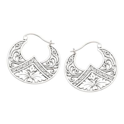Sterling silver hoop earrings, 'Flame Flower' - Sterling Silver Floral Theme Hoop Earrings  from Bali