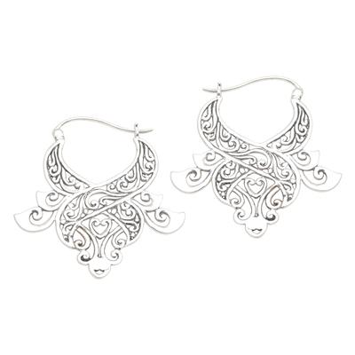 Sterling silver hoop earrings, 'Untamed Beauty' - Modern Free-Form Sterling Silver Jungle Tendril Earrings