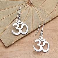 Sterling silver dangle earrings, 'Dharma' - Handcrafted Sterling Silver Hindu Omkara Earrings