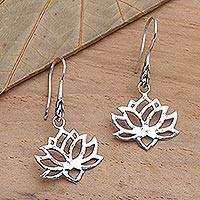 Sterling silver dangle earrings, 'Lotus Silhouette' - Handcrafted Sterling Silver Lotus Blossom Dangle Earrings