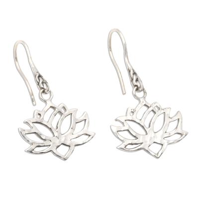 Sterling silver dangle earrings, 'Lotus Silhouette' - Handcrafted Sterling Silver Lotus Blossom Dangle Earrings