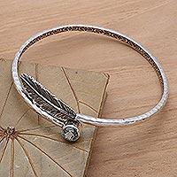 Blue topaz bangle bracelet, 'Sky Feather'