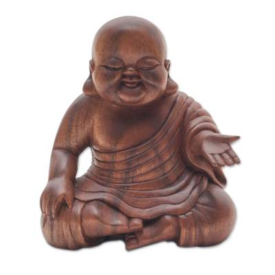 Wood sculpture, 'Tranquil Buddha' - Hand Carved Wood Buddha Sculpture from Bali