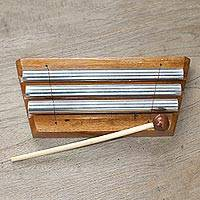 Teak wood xylophone, 'Three Tones' - Hand Crafted Three Note Xylophone