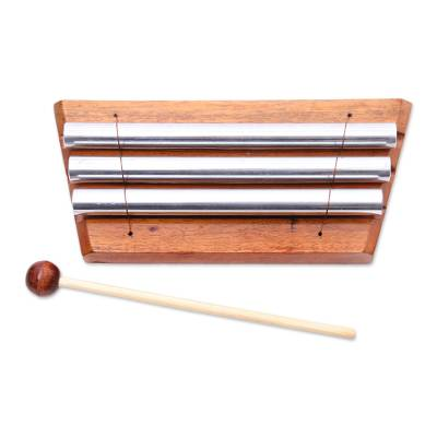 Teakwood xylophone, 'Three Tones' - Hand Crafted Three Note Xylophone