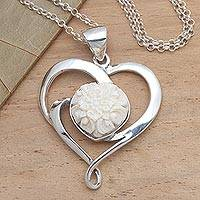 Sterling silver and bone pendant necklace, 'Blossoming Love' - Floral Theme Sterling Silver and Carved Bone Heart Necklace