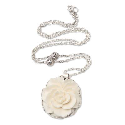 Balinese Sterling Silver And Carved Bone Flower Necklace Creamy White Rose Novica