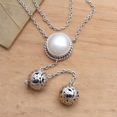 Cultured pearl Y necklace, 'Moonbeam' - Sterling Silver Y Necklace with a White Cultured Mabe Pearl
