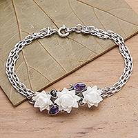 Amethyst pendant bracelet, 'Ivory Lotus' - Silver and Amethyst Bracelet with Carved Bone Flowers