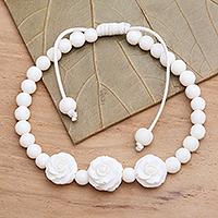 Bone beaded bracelet, 'Ivory Roses' - Beaded Bracelet with 3 Hand Carved Bone Roses