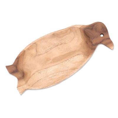 Penguin-Shaped Teak Wood Serving Platter
