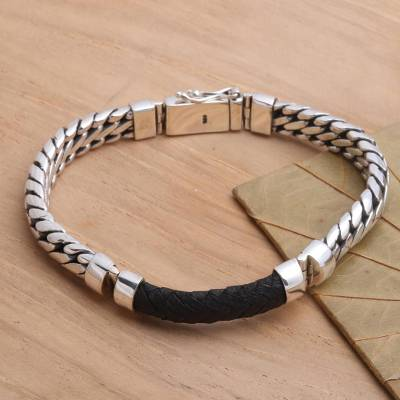 Mens sterling silver and leather bracelet, Bridge in Black