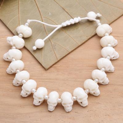 Unicef Market Hand Carved Bone Skull Bead Bracelet Bone Collector
