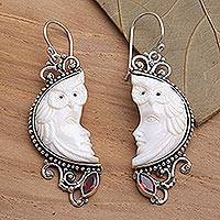 Garnet and bone dangle earrings, 'Owl Protector' - Garnet and Bone Owl Themed Dangle Earrings