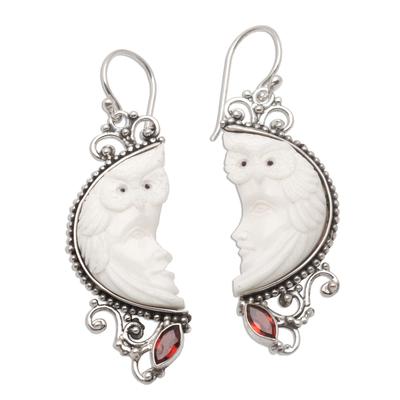 Garnet and bone dangle earrings, 'Owl Protector' - Garnet and Bone Owl Themed Dangle Earrings