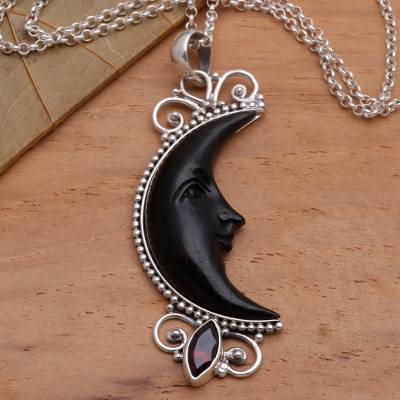 Garnet and buffalo horn pendant necklace, 'Dark Crescent Moon' - Silver and Garnet Moon Necklace with Water Buffalo Horn