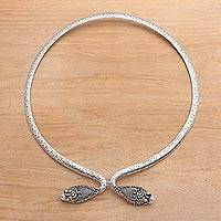Sterling silver collar necklace, 'Ancient Snake' - Sterling Silver Snake Collar Necklace