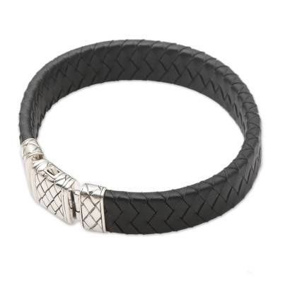 Men's leather and sterling silver wristband bracelet, 'Adaptation' - Black Leather and Sterling Silver Men's Bracelet